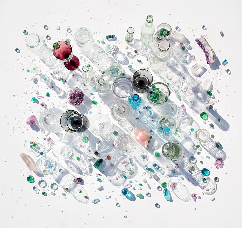 bodegón de cristal , juego no estructurado, piezas sueltas
